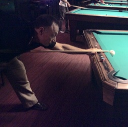 Shooting Pool with a Level Cue Stick