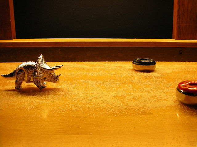 Triceratops on a Shuffleboard Table