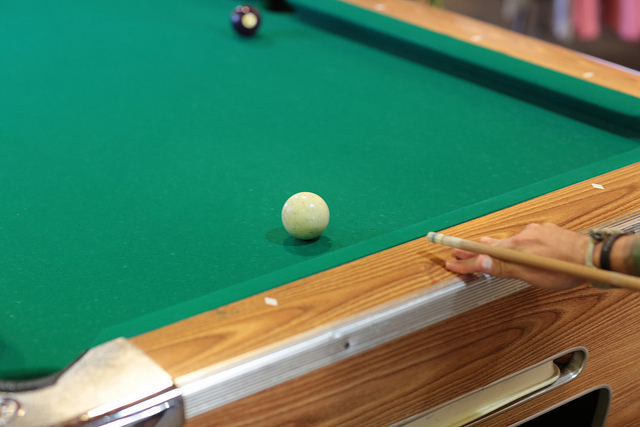 Lining up a pool table shot