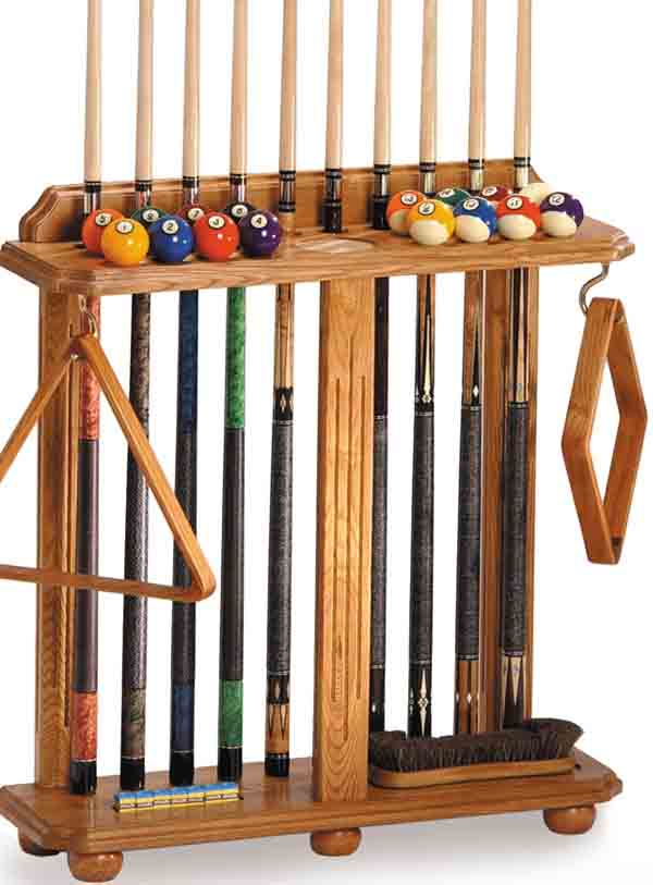 The Winslow Cue Rack is convenient for Billiard areas