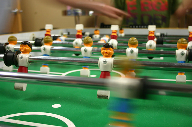 Close up of a fooseball table