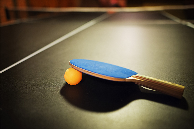 Ping pong paddle on table