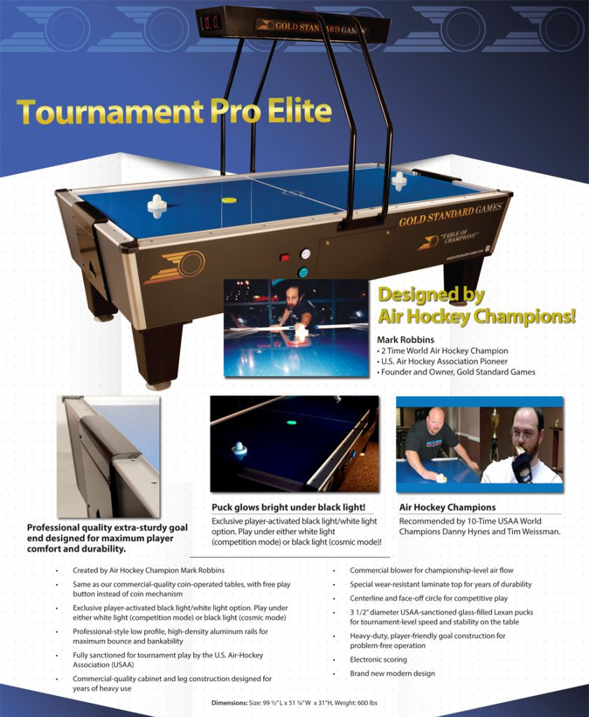 Gold Standard Tournament Pro Elite Air Powered Hockey Table