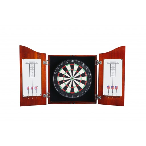 Wood Dartboard Cabinet Set