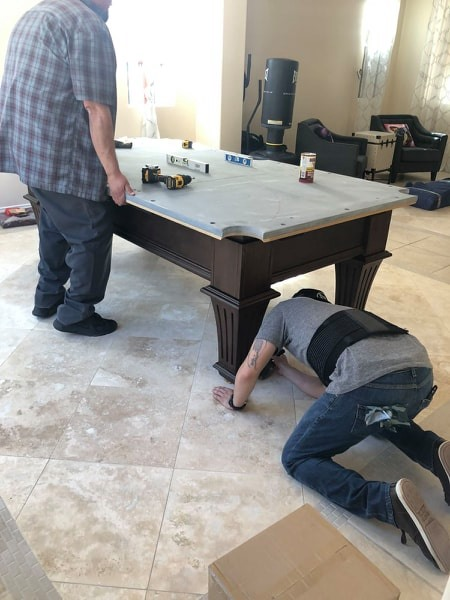 Installing pool table legs