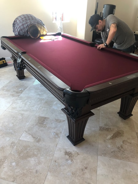 Pool table rail installation