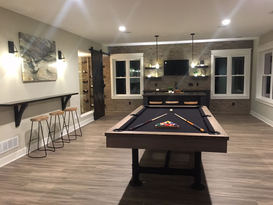 8' Imperial Bedford Weathered Oak Pool Table installed