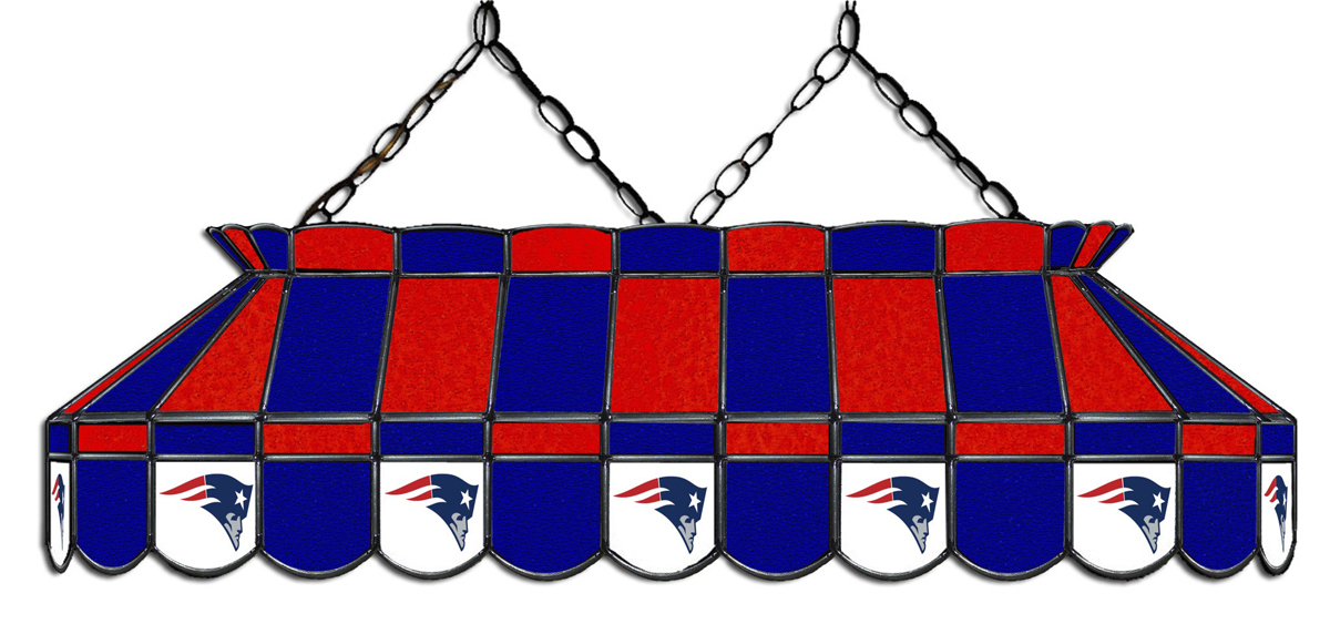 NEW ENGLAND PATRIOTS 40-IN. STAINED GLASS POOL TABLE LAMP
