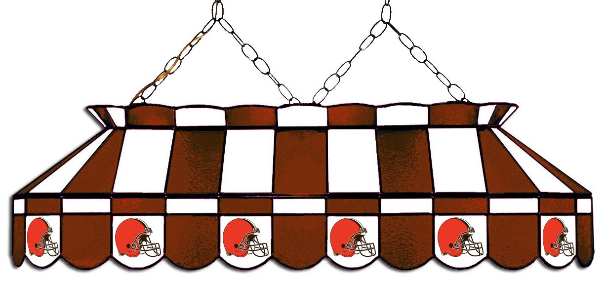 CLEVELAND BROWNS 40-IN. STAINED GLASS POOL TABLE LAMP