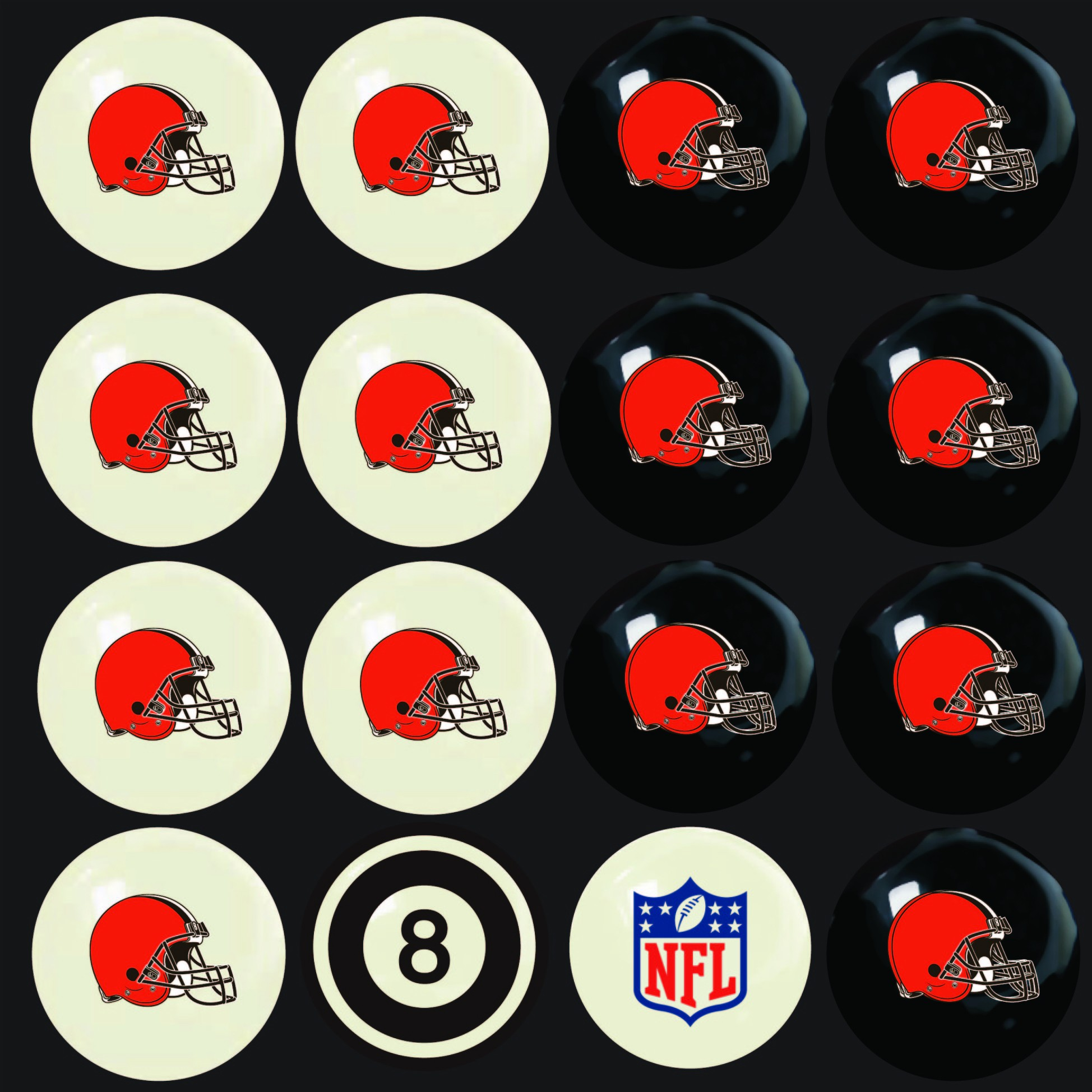 CLEVELAND BROWNS HOME VS. AWAY BILLIARD BALL SET