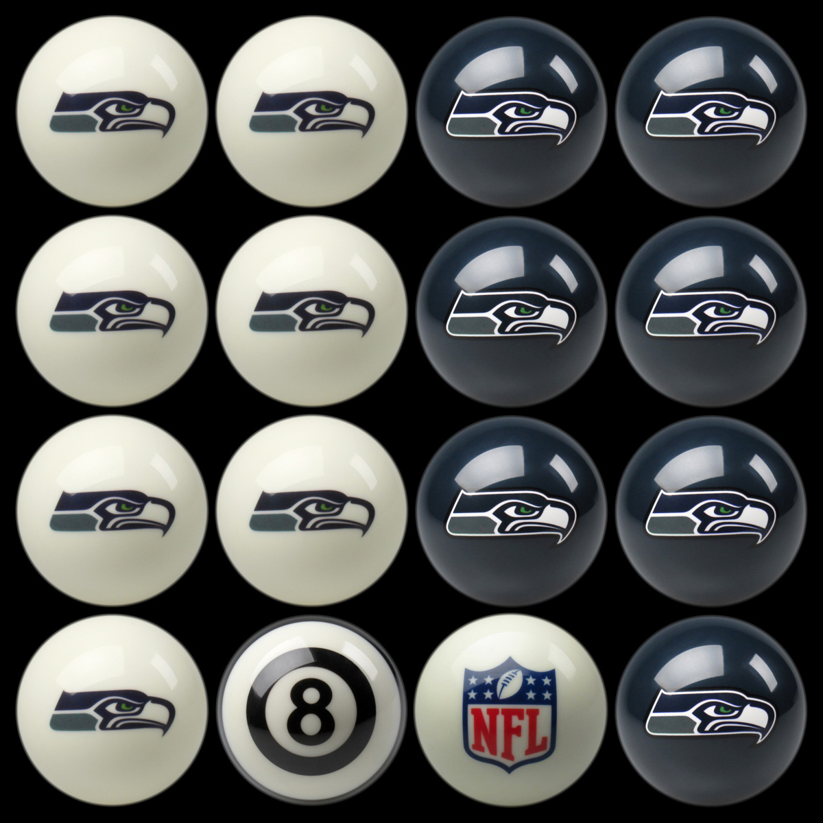 SEATTLE SEAHAWKS HOME VS. AWAY BILLIARD BALL SET