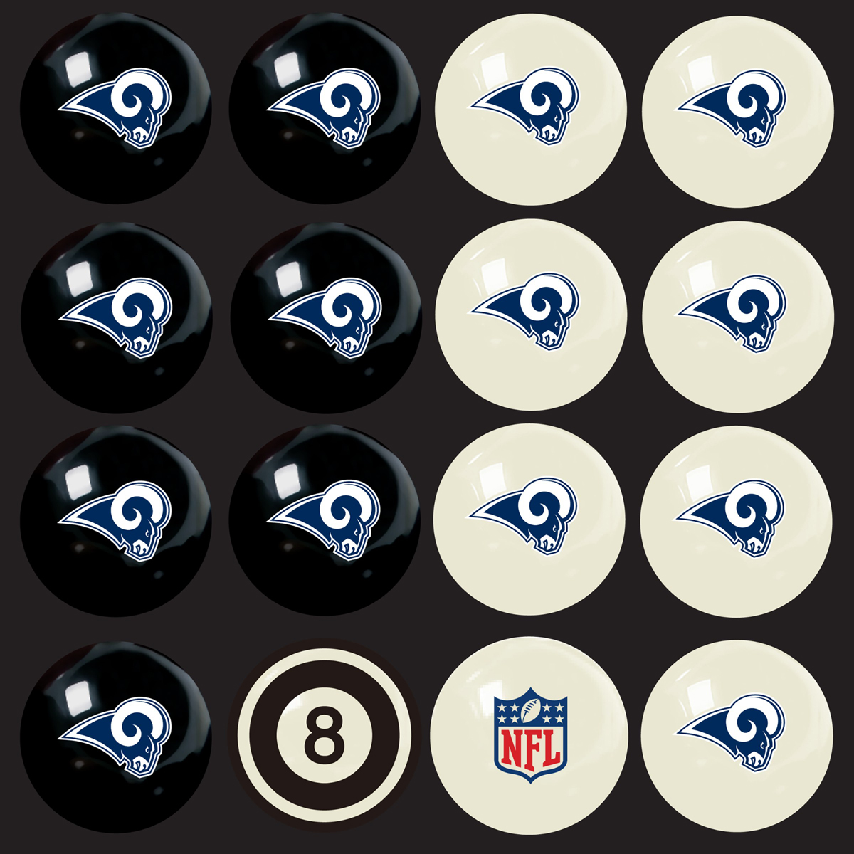 LOS ANGELES RAMS HOME VS. AWAY BILLIARD BALL SET
