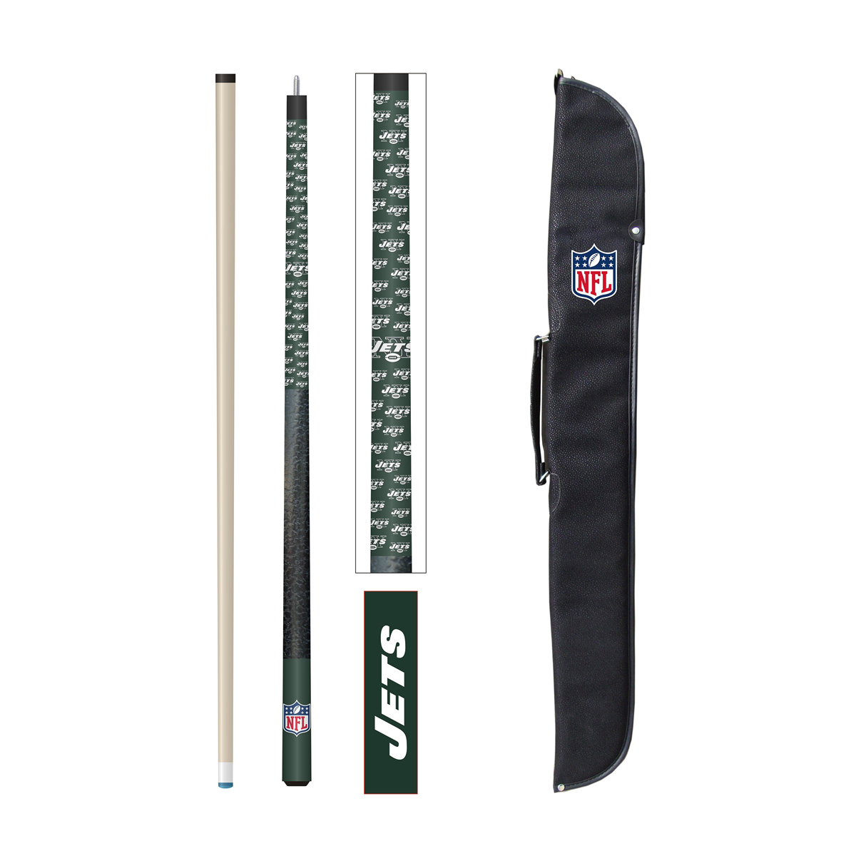 NEW YORK JETS CUE AND CASE SET