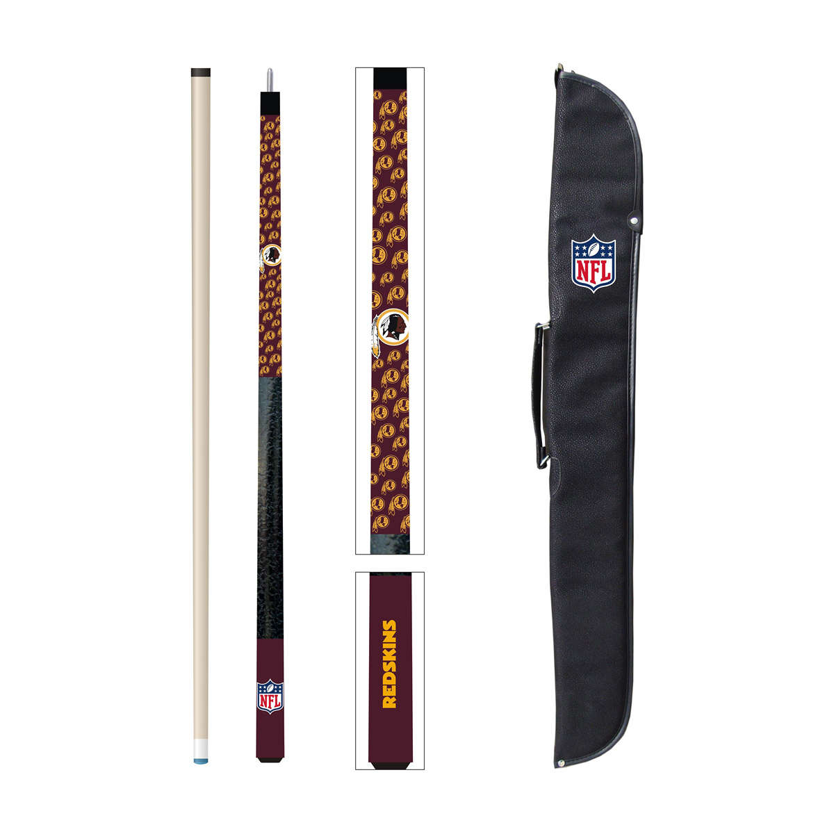 WASHINGTON REDSKINS CUE AND CASE SET