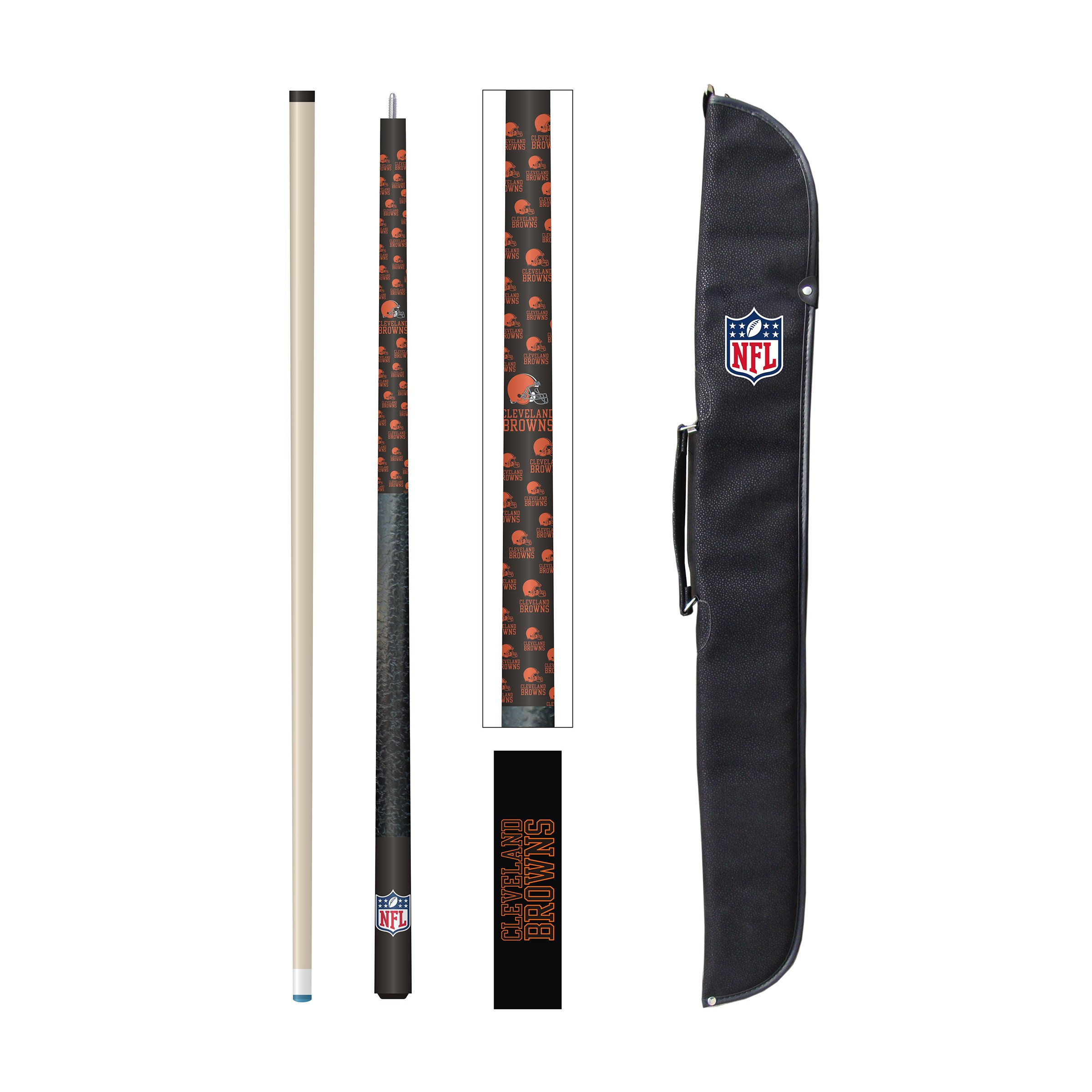 CLEVELAND BROWNS CUE AND CASE SET