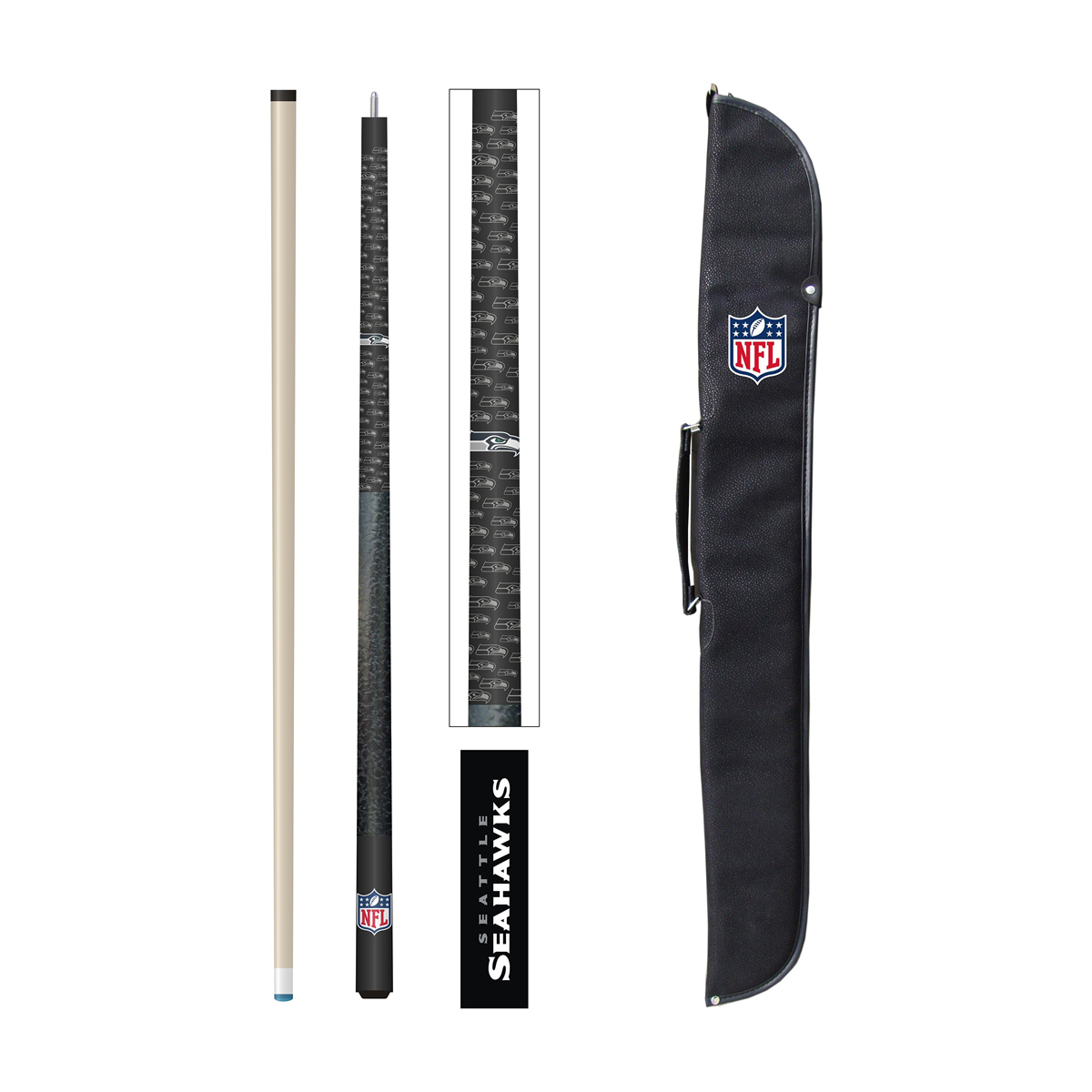 SEATTLE SEAHAWKS CUE AND CASE SET