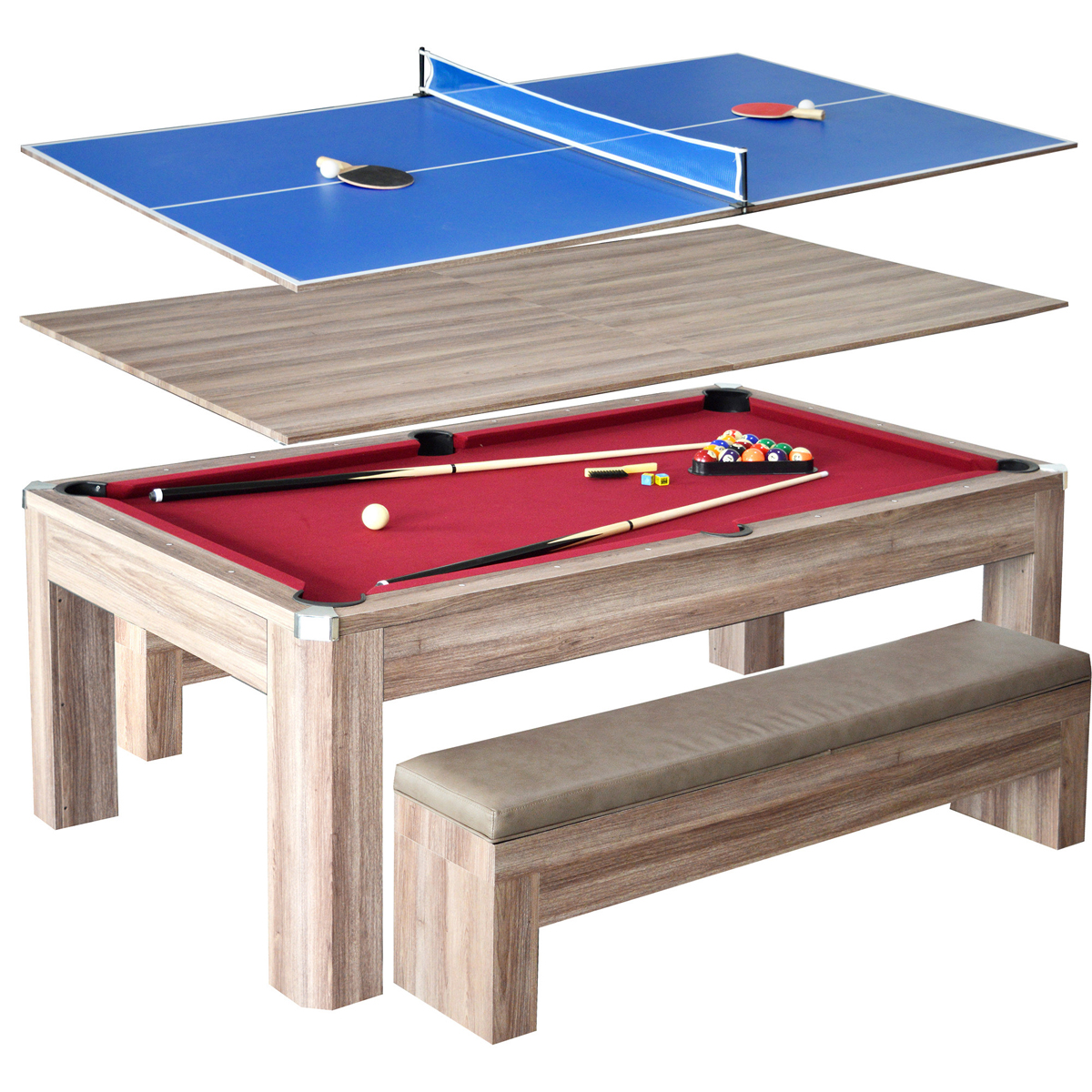 7 newport pool table set with benches - Pool table table tennis ...