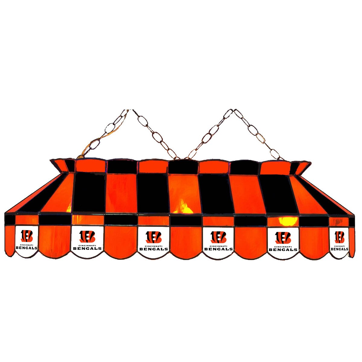 CINCINNATI BENGALS 40-IN. STAINED GLASS POOL TABLE LAMP