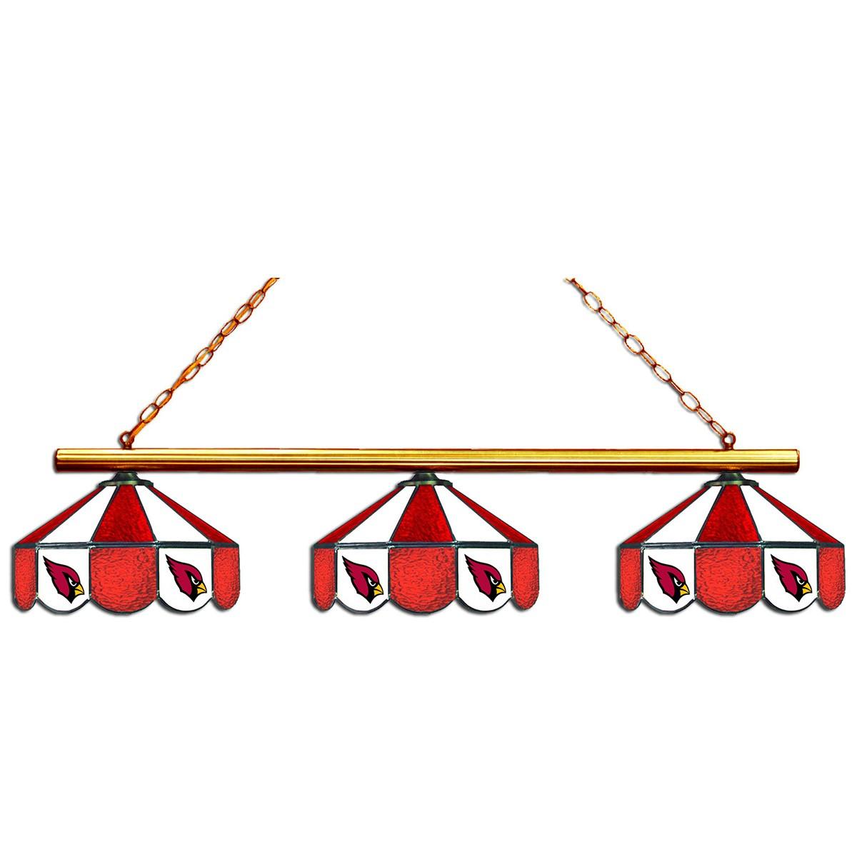ARIZONA CARDINALS 3 SHADE GLASS LAMP