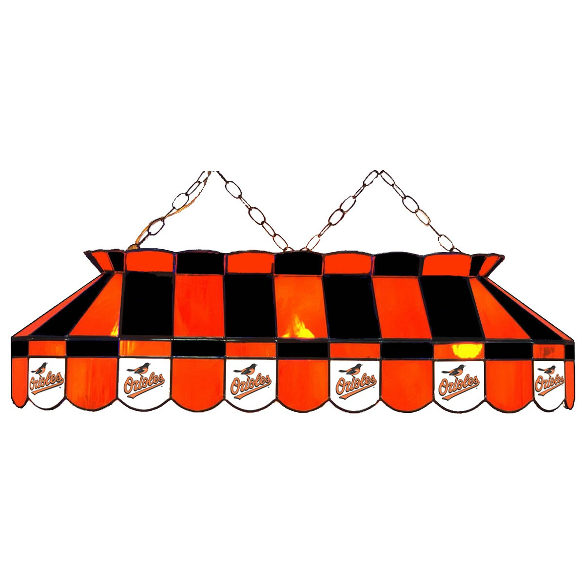 BALTIMORE ORIOLES 40-IN. STAINED GLASS POOL TABLE LAMP