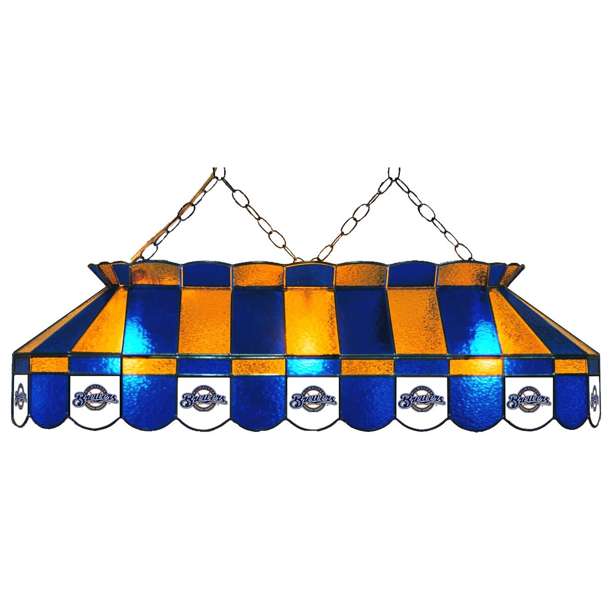 MILWAUKEE BREWERS 40-IN. STAINED GLASS POOL TABLE LAMP