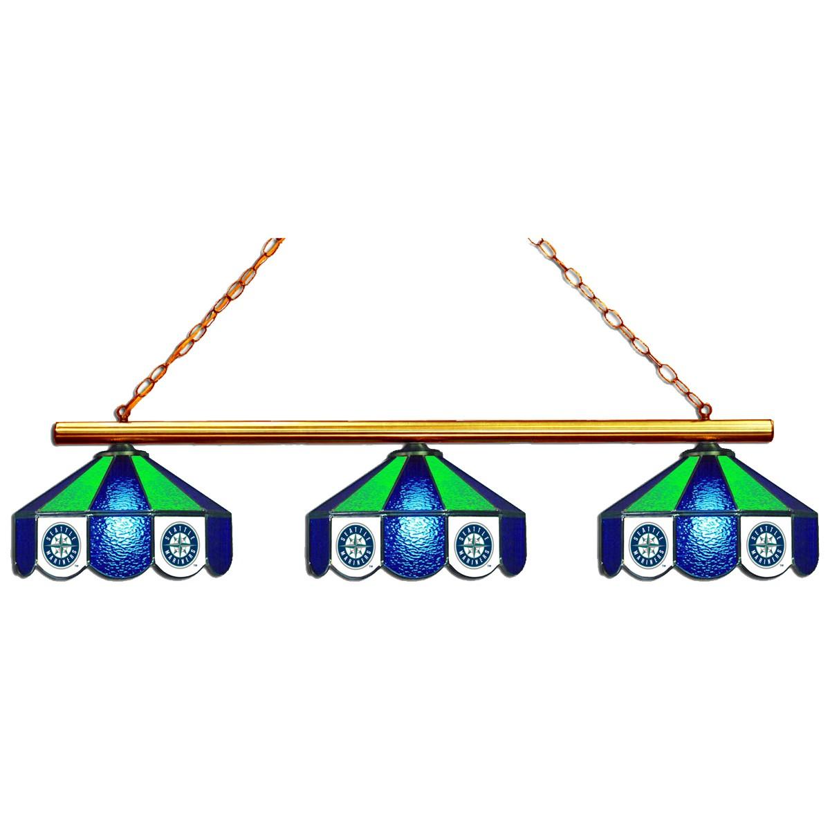 SEATTLE MARINERS 3 SHADE GLASS LAMP