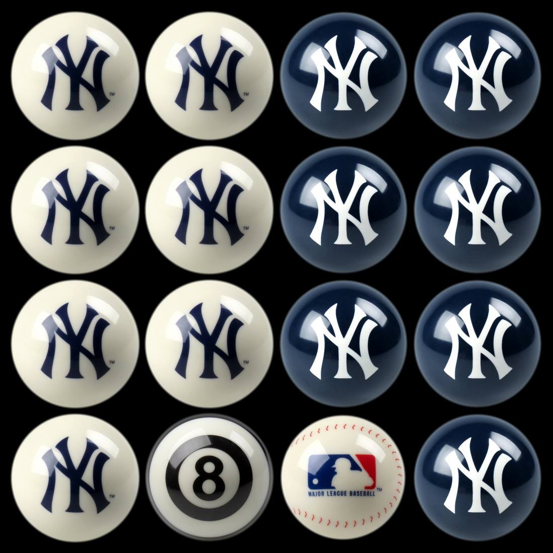 NEW YORK YANKEES HOME VS. AWAY BILLIARD BALL SET
