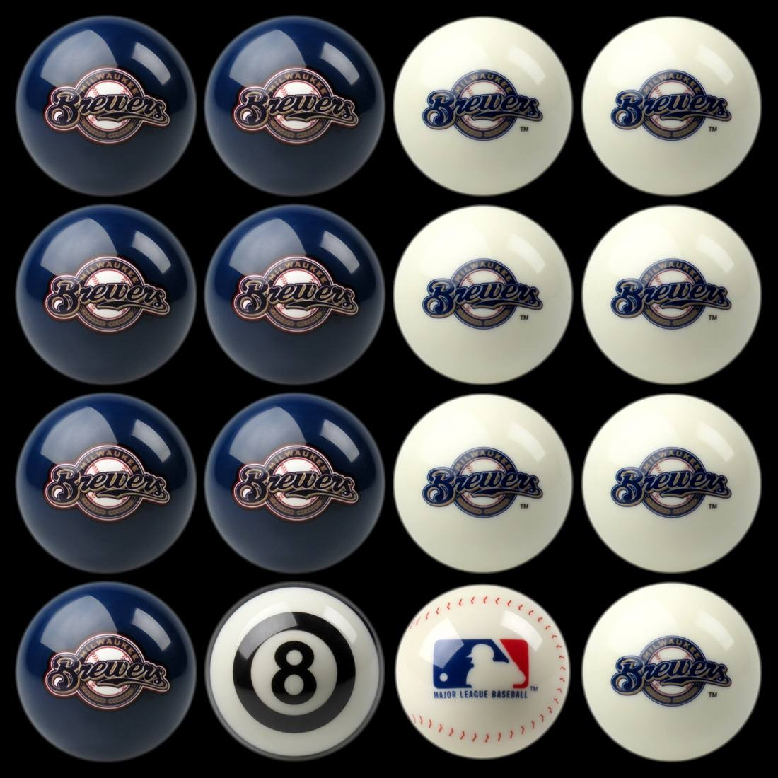 MILWAUKEE BREWERS HOME VS. AWAY BILLIARD BALL SET