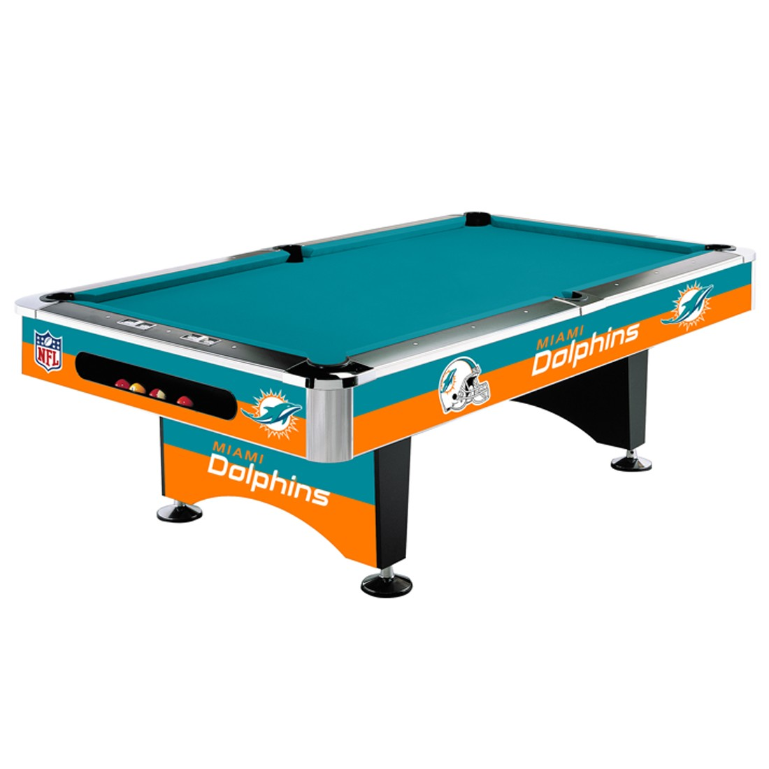 8 Nfl Miami Dolphins Team Logo Pool Table