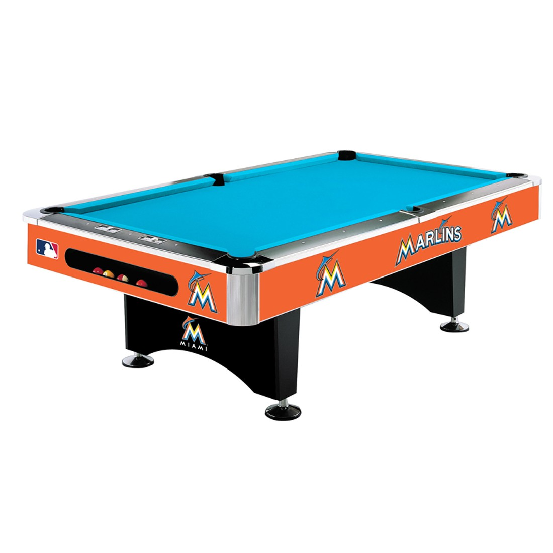 8' MLB Miami Marlins Team Logo Pool Table