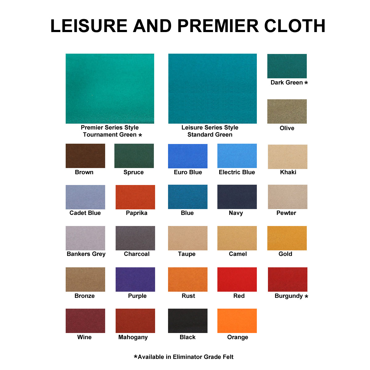 novalo pool table cloth options