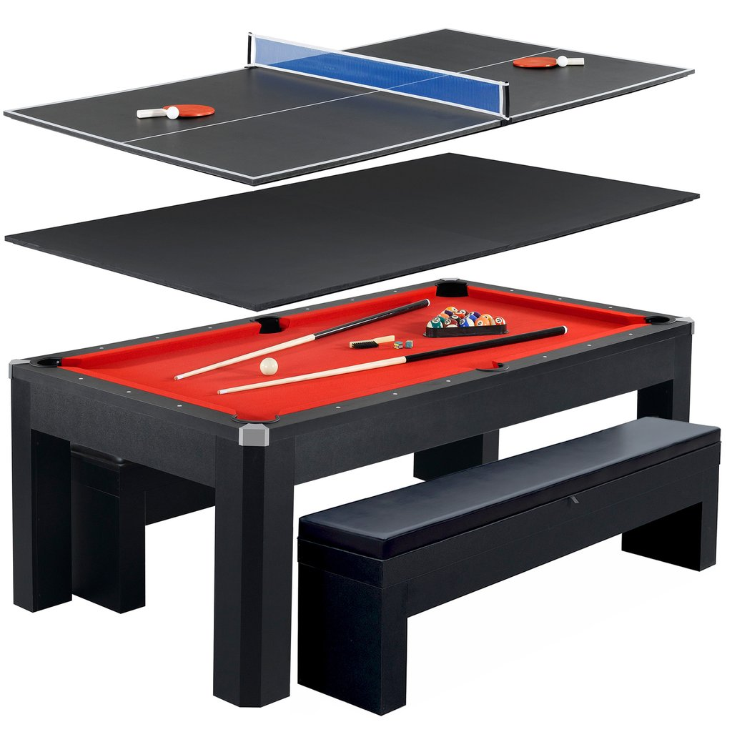 Park Avenue 7 Foot Pool Table Tennis Combination With Dining Top, Two  Storage Benches, Free Accessories