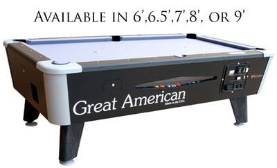 Great American Black Diamond Pool Table (Sizes 6u0027, 6.5u0027, 7u0027, 8u0027, Or 9u0027)