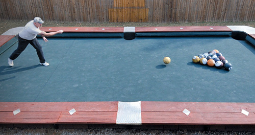 You Wont Believe This Life Size Backyard Pool Bowling Table - How big is a full size pool table